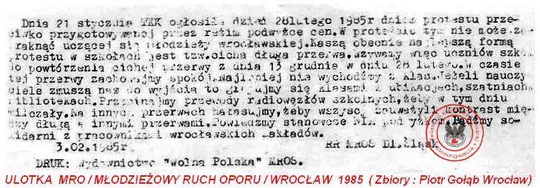"""ULOTKA """"MRO""""  1985"""