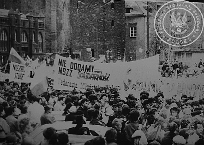 Manifestacja FMW w rocznicę sierpnia w Gdańsku 1989 r.