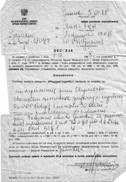 8 - Odmowa paszportu z 1988 r.