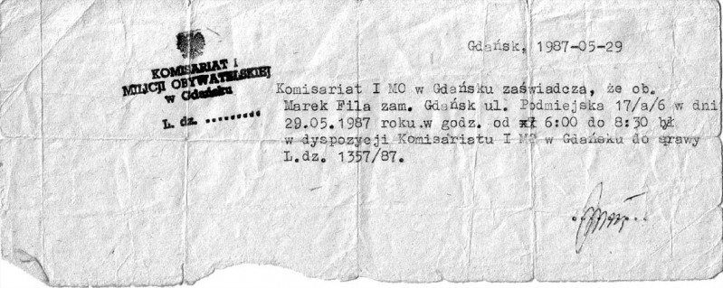 3 - 1987 dokument z rozmowy ostrzegawczej przed wizytą Ojca Św. w Gdańsku