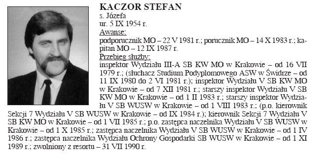 1 - W książce Twarze krakowskiej bezpieki rozpoznałem dwóch .Ten mnie dopadł w roku 84 - (manifestacja dotycząca bojkotu wyborów do Rad Narodowych). Pamiętam gonił mnie przez pół Huty i w końcu jak mnie dopadł był strasznie wkur....ny bo się wywrócił na kretówce.