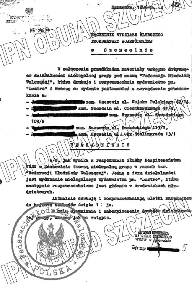 Pismo SB do prokuratury w sprawie FMW
